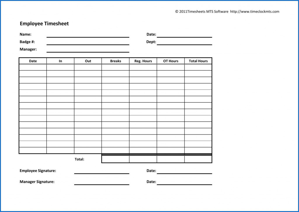 003 Archaicawful Employee Time Card Printable Idea  Timesheet Template Excel Free Multiple SheetLarge