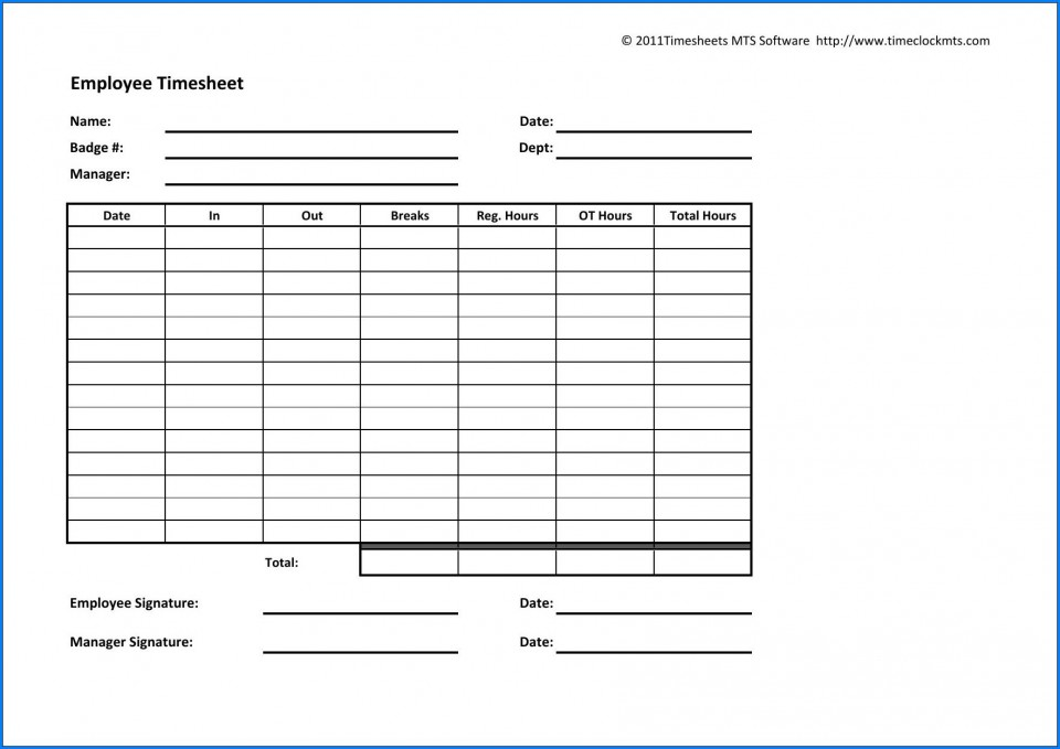 003 Archaicawful Employee Time Card Printable Idea  Timesheet Template Excel Free Multiple Sheet960