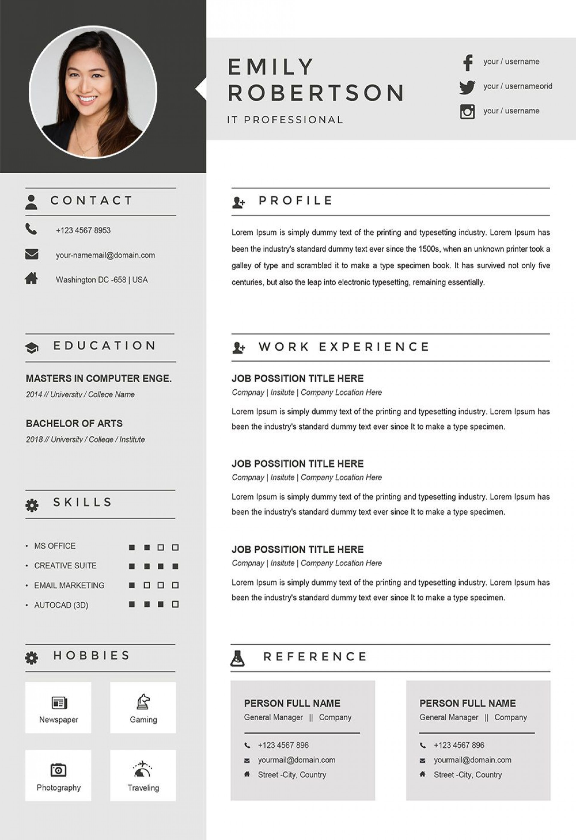003 Archaicawful Example Cv Template Word  Resume Microsoft1920