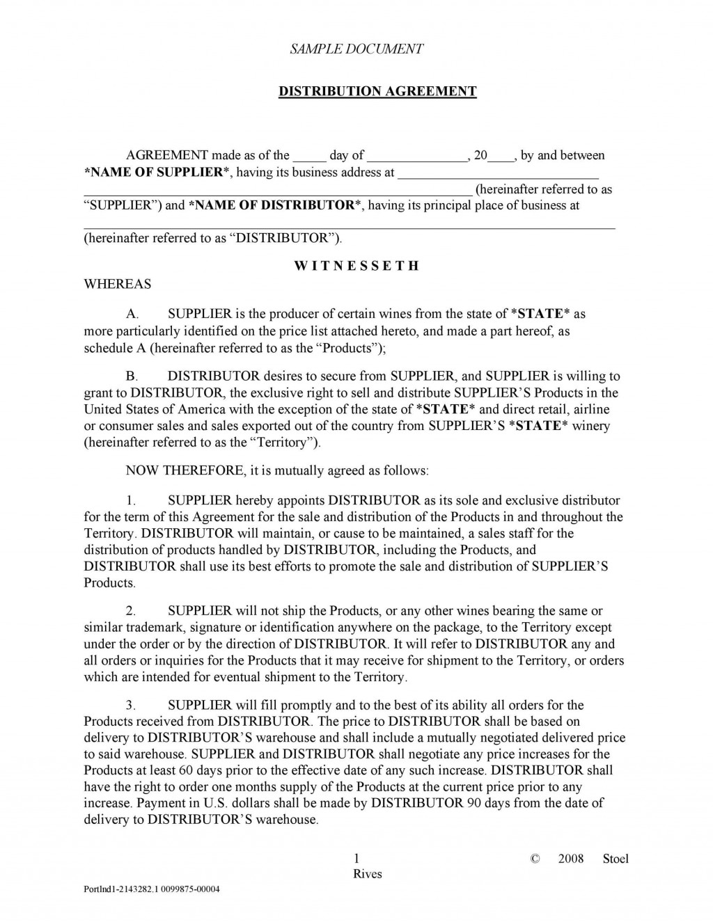 003 Archaicawful Exclusive Distribution Agreement Template Word Highest Quality  FormatLarge