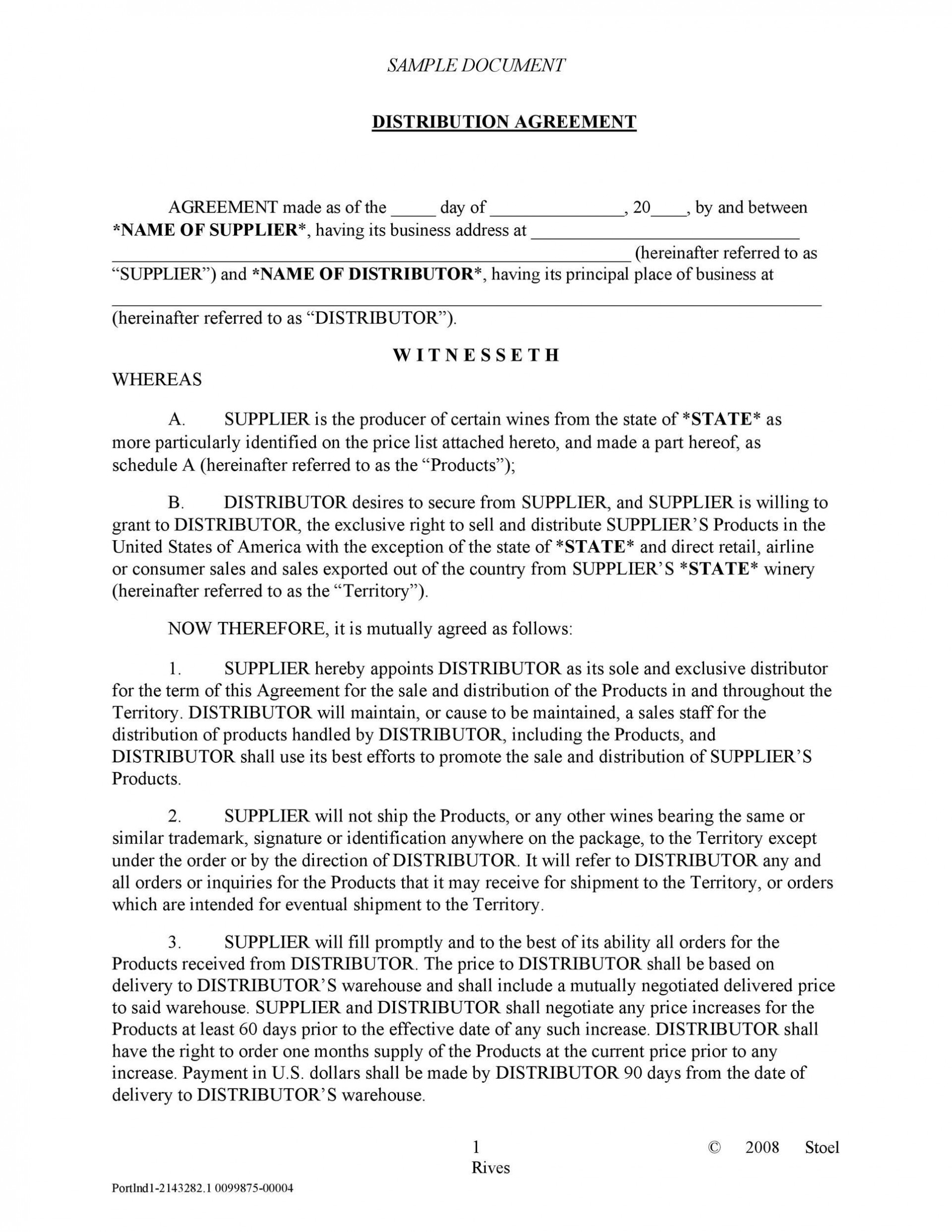 003 Archaicawful Exclusive Distribution Agreement Template Word Highest Quality  Format1920