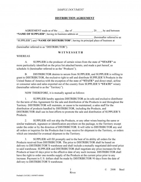 003 Archaicawful Exclusive Distribution Agreement Template Word Highest Quality  Format480