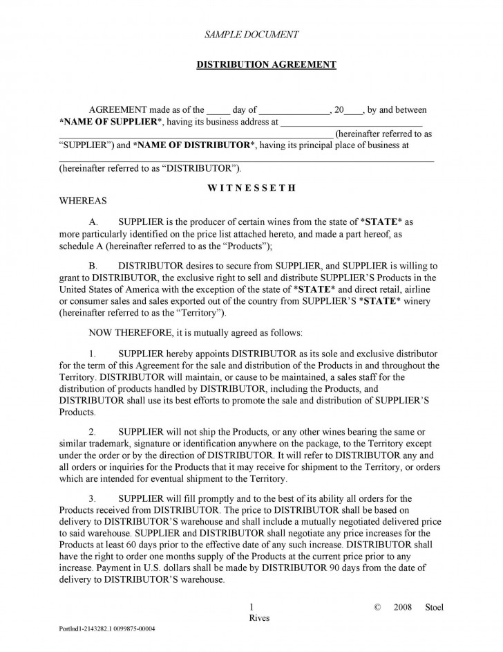 003 Archaicawful Exclusive Distribution Agreement Template Word Highest Quality  Format728