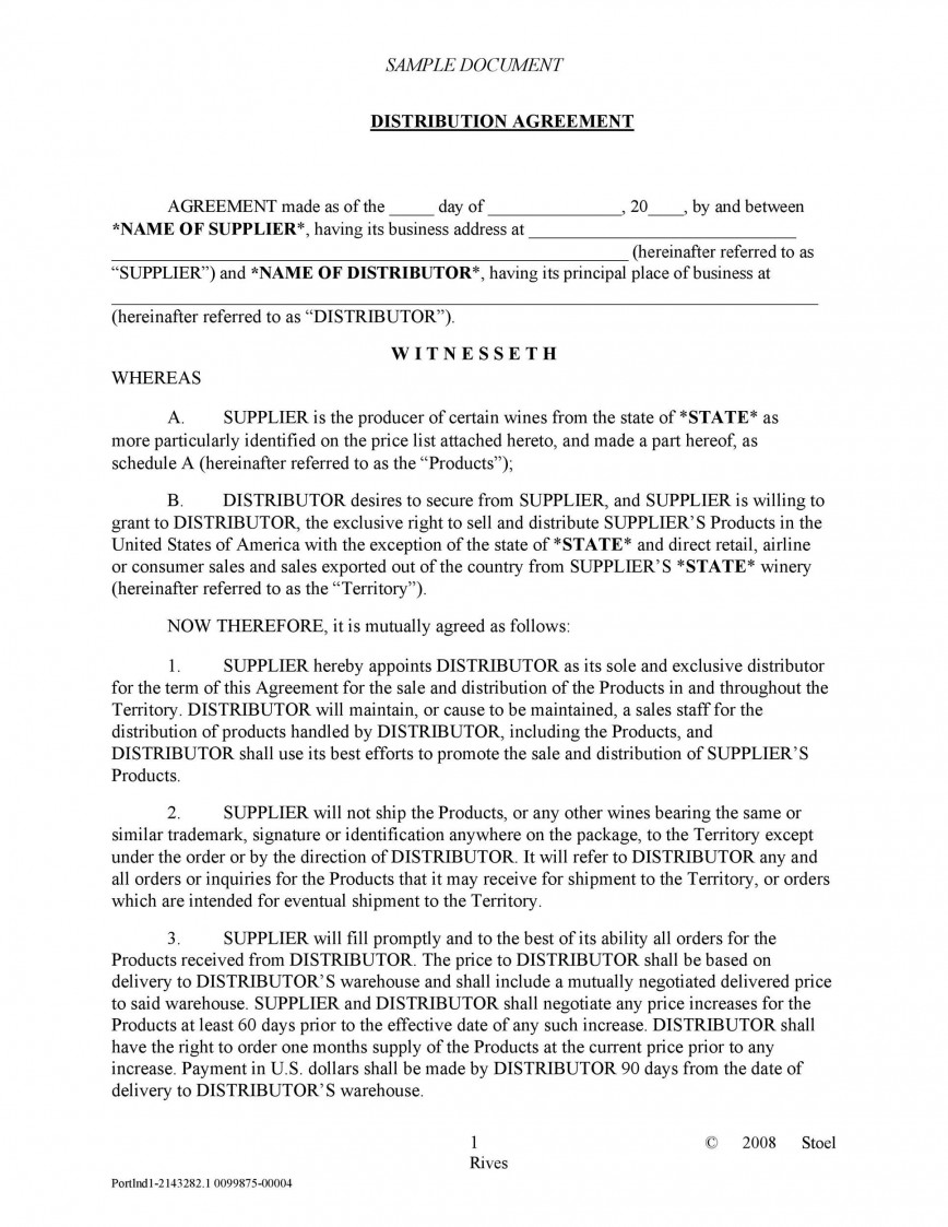 003 Archaicawful Exclusive Distribution Agreement Template Word Highest Quality  Format868