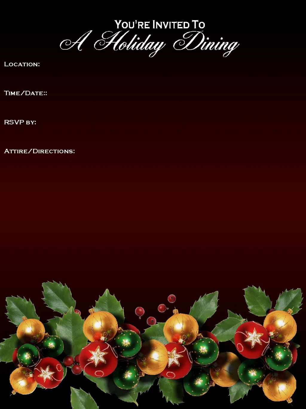 003 Archaicawful Free Holiday Party Flyer Template Word Example Large