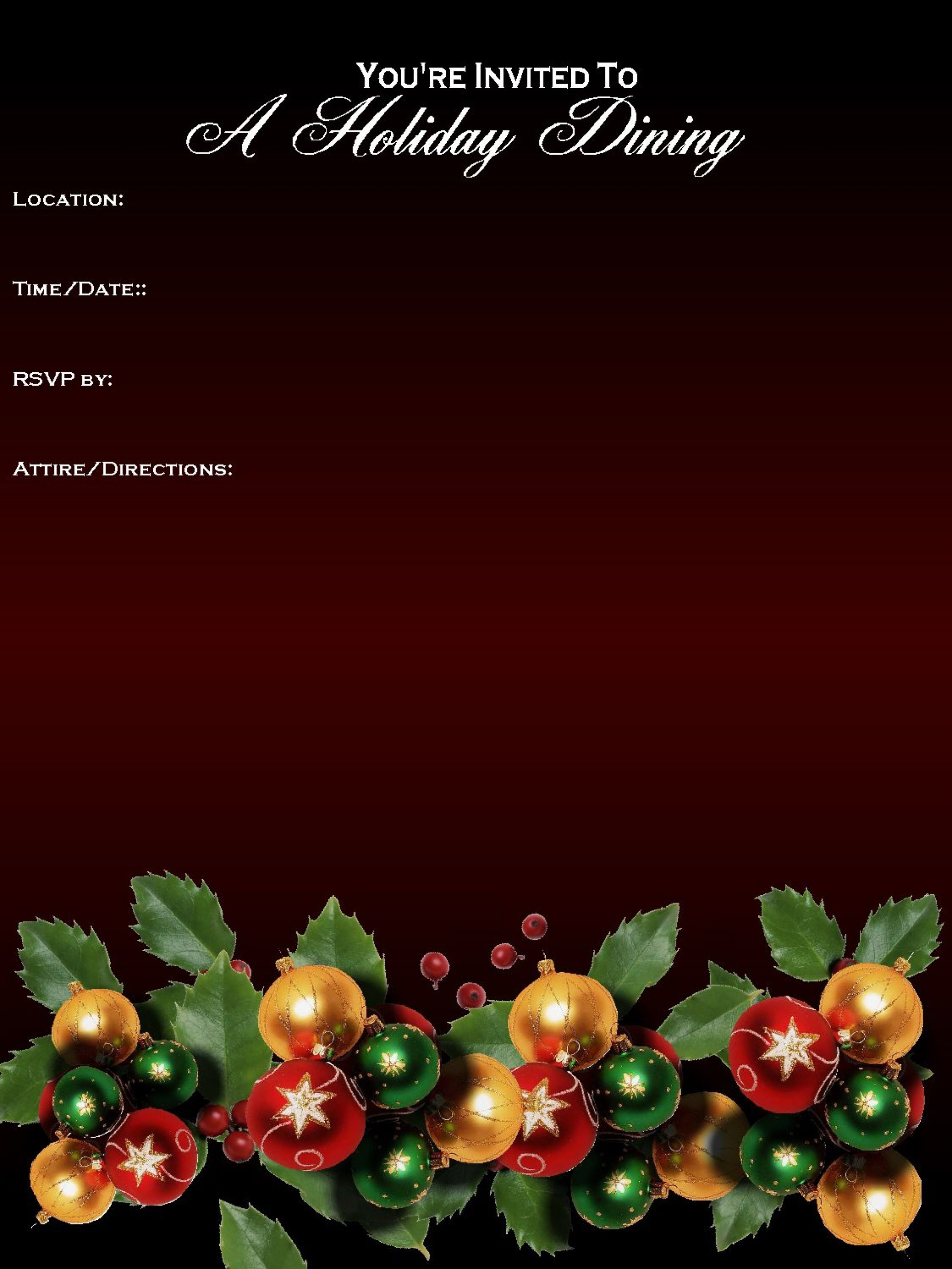 003 Archaicawful Free Holiday Party Flyer Template Word Example 1920