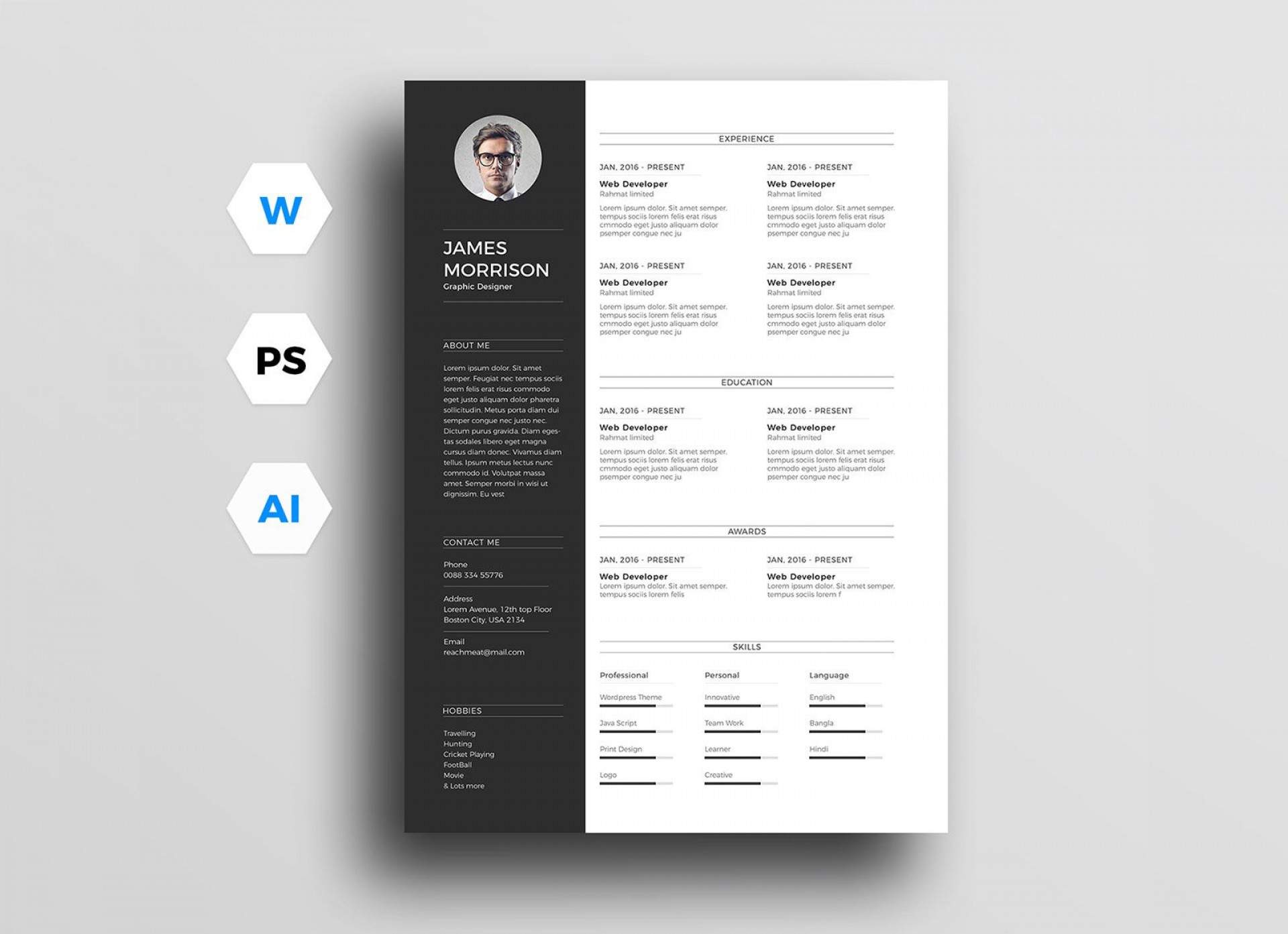 003 Archaicawful Photoshop Cv Template Free Design  Modern Psd Resume Download1920