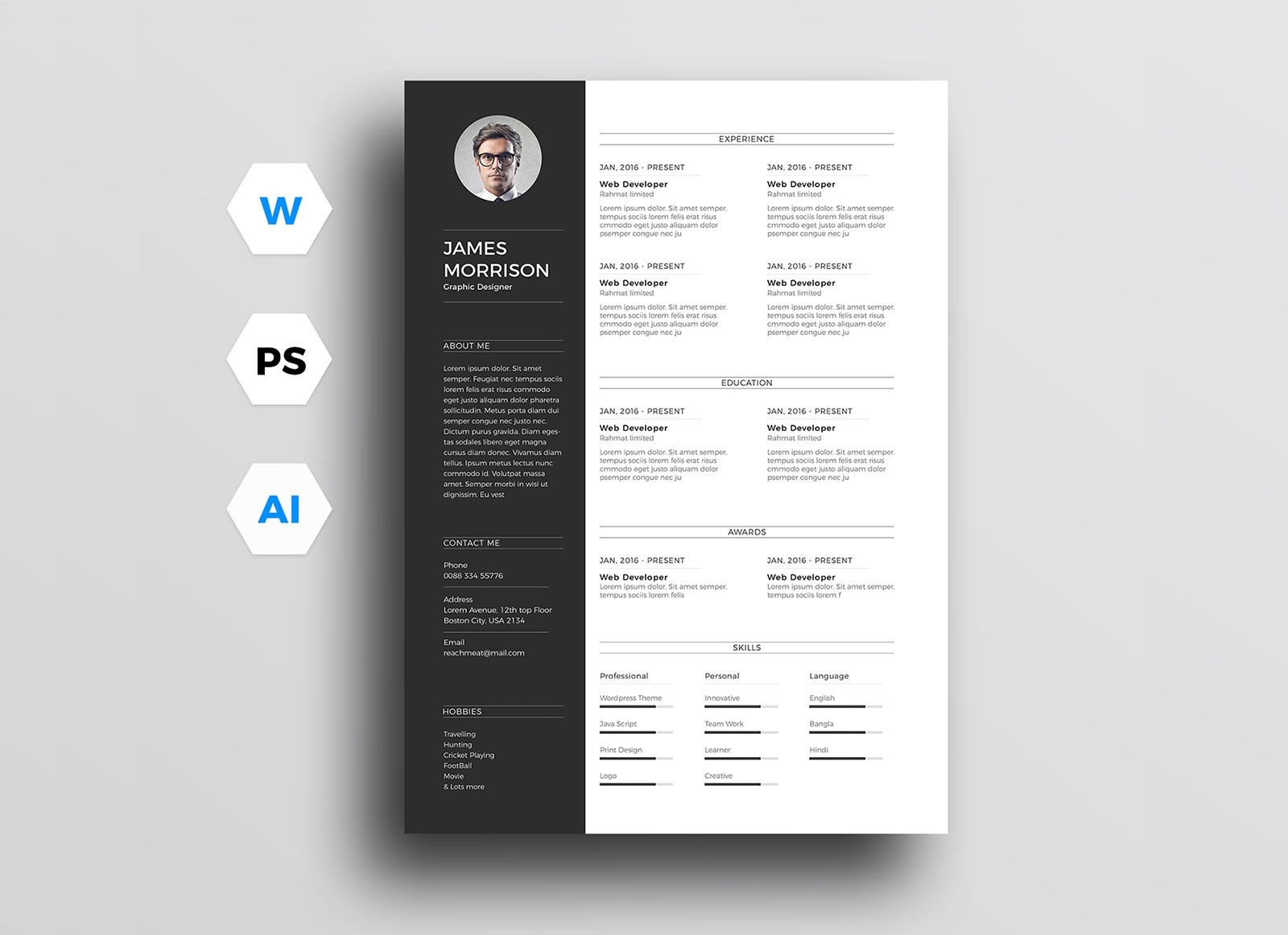 003 Archaicawful Photoshop Cv Template Free Design  Modern Psd Resume DownloadFull