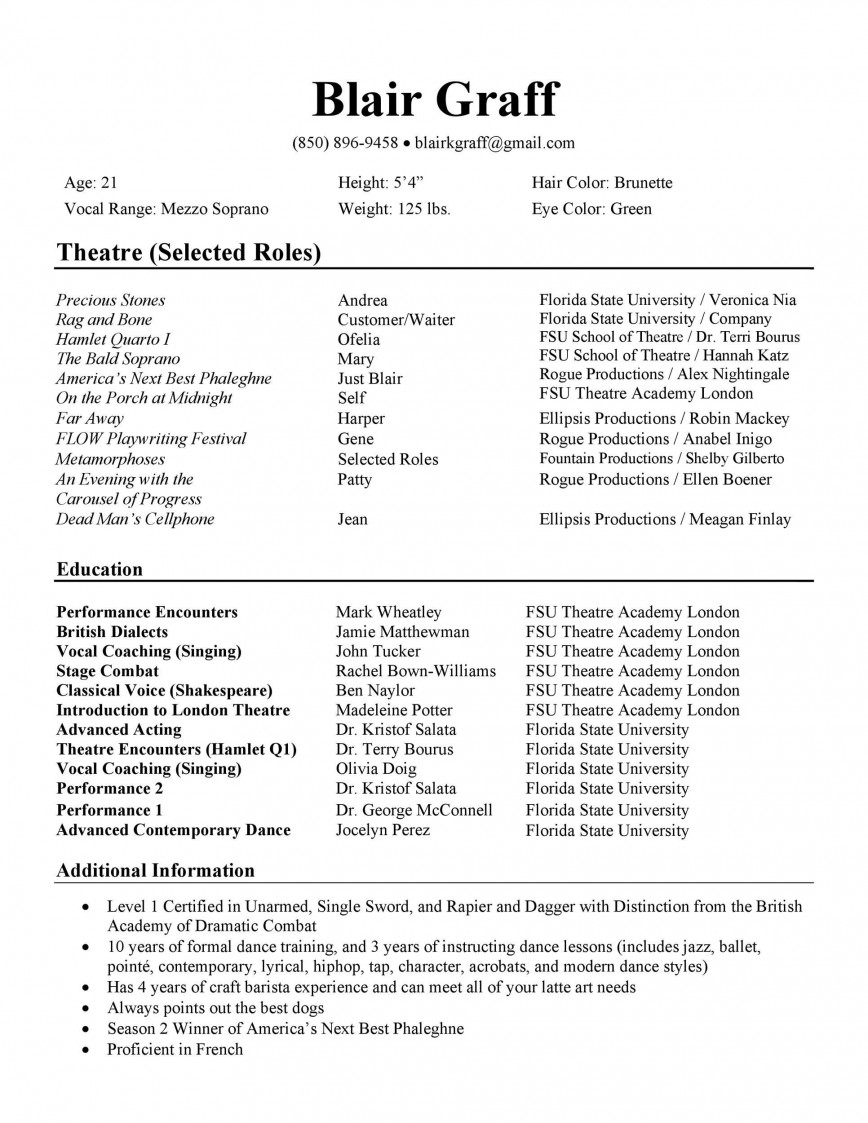 003 Archaicawful Technical Theatre Resume Template Design  Google Doc Tech868