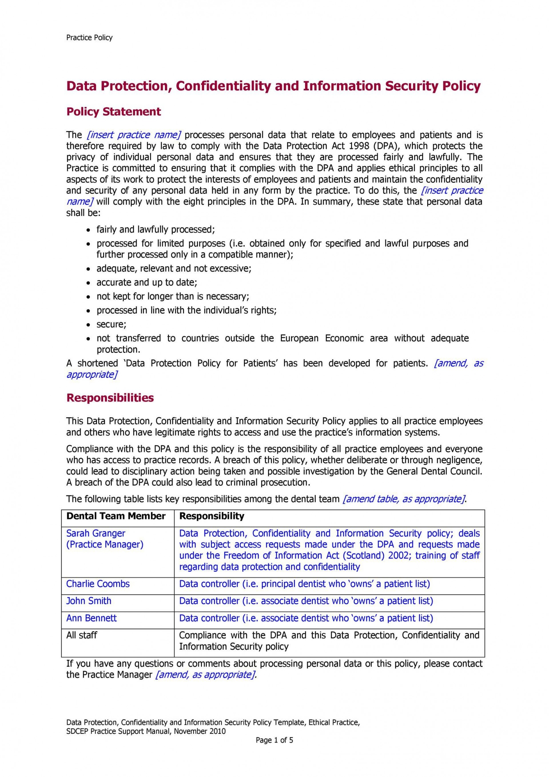 003 Astounding Data Security Policy Template High Resolution  Example Uk Center Gdpr1920