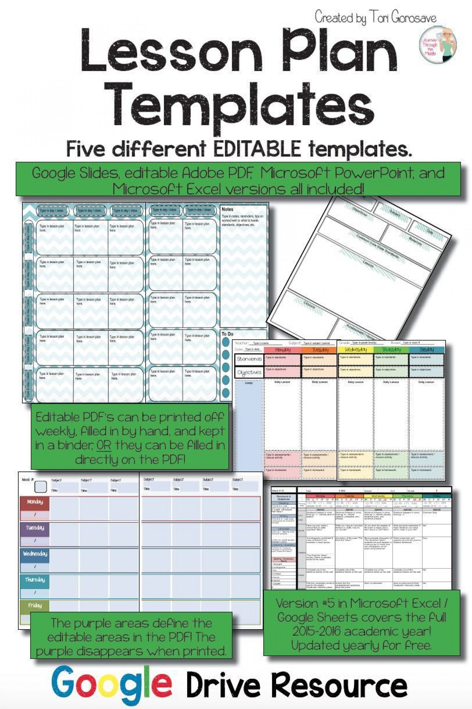 003 Astounding Editable Lesson Plan Template Middle School High Def 1920
