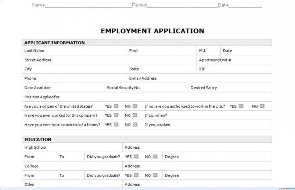 003 Astounding Employment Application Form Template M Word Photo  Job Microsoft Description960