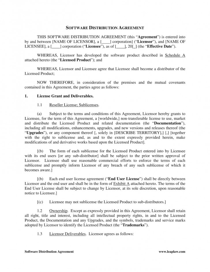 003 Astounding Exclusive Distribution Agreement Template Free Download Highest Clarity 728
