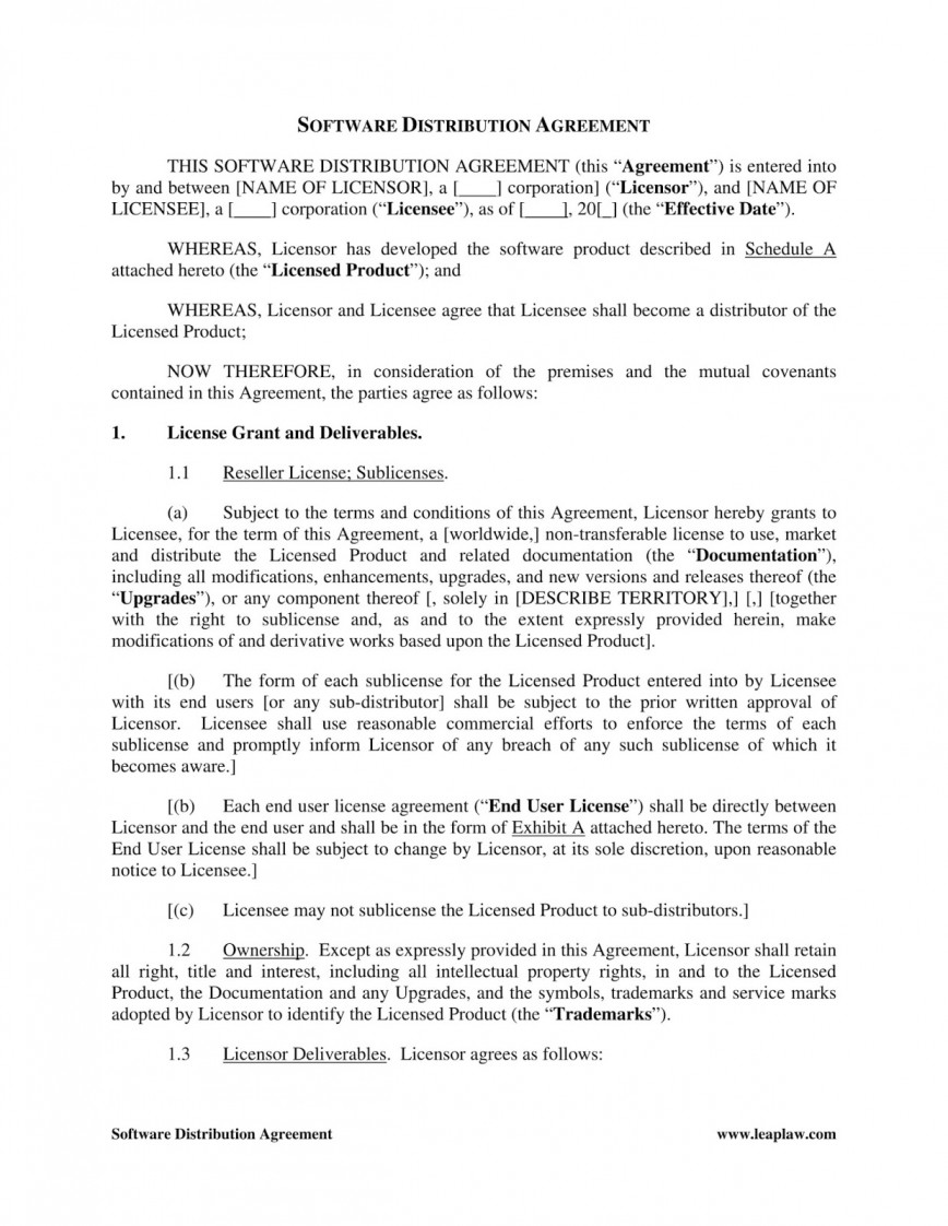 003 Astounding Exclusive Distribution Agreement Template Free Download Highest Clarity 868