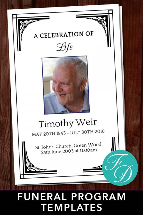003 Astounding Free Celebration Of Life Program Template Download Concept 480