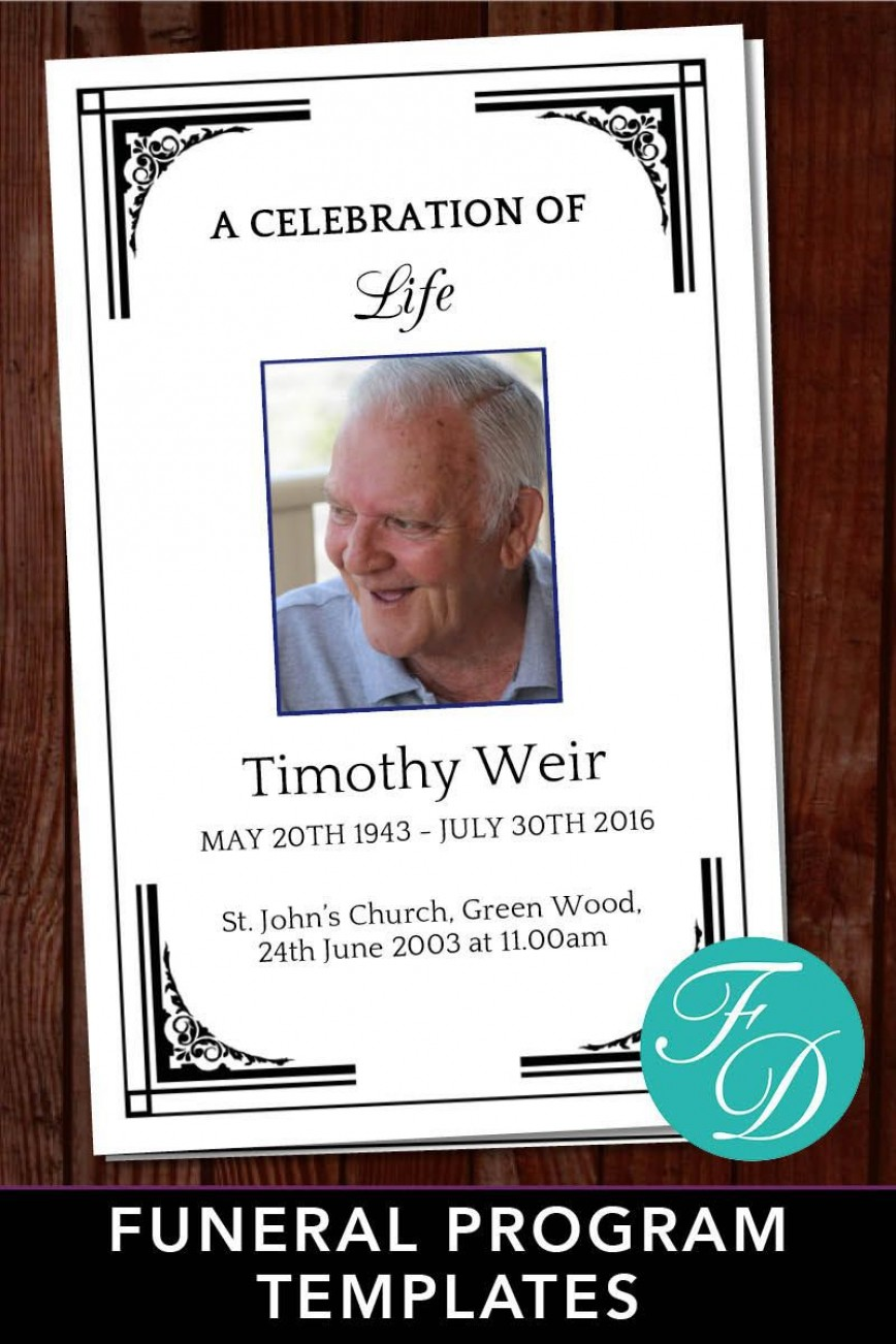 003 Astounding Free Celebration Of Life Program Template Download Concept 868
