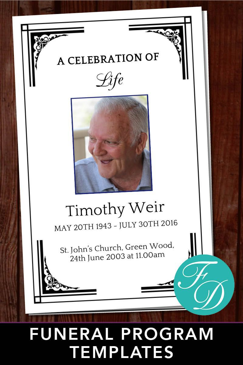 003 Astounding Free Celebration Of Life Program Template Download Concept