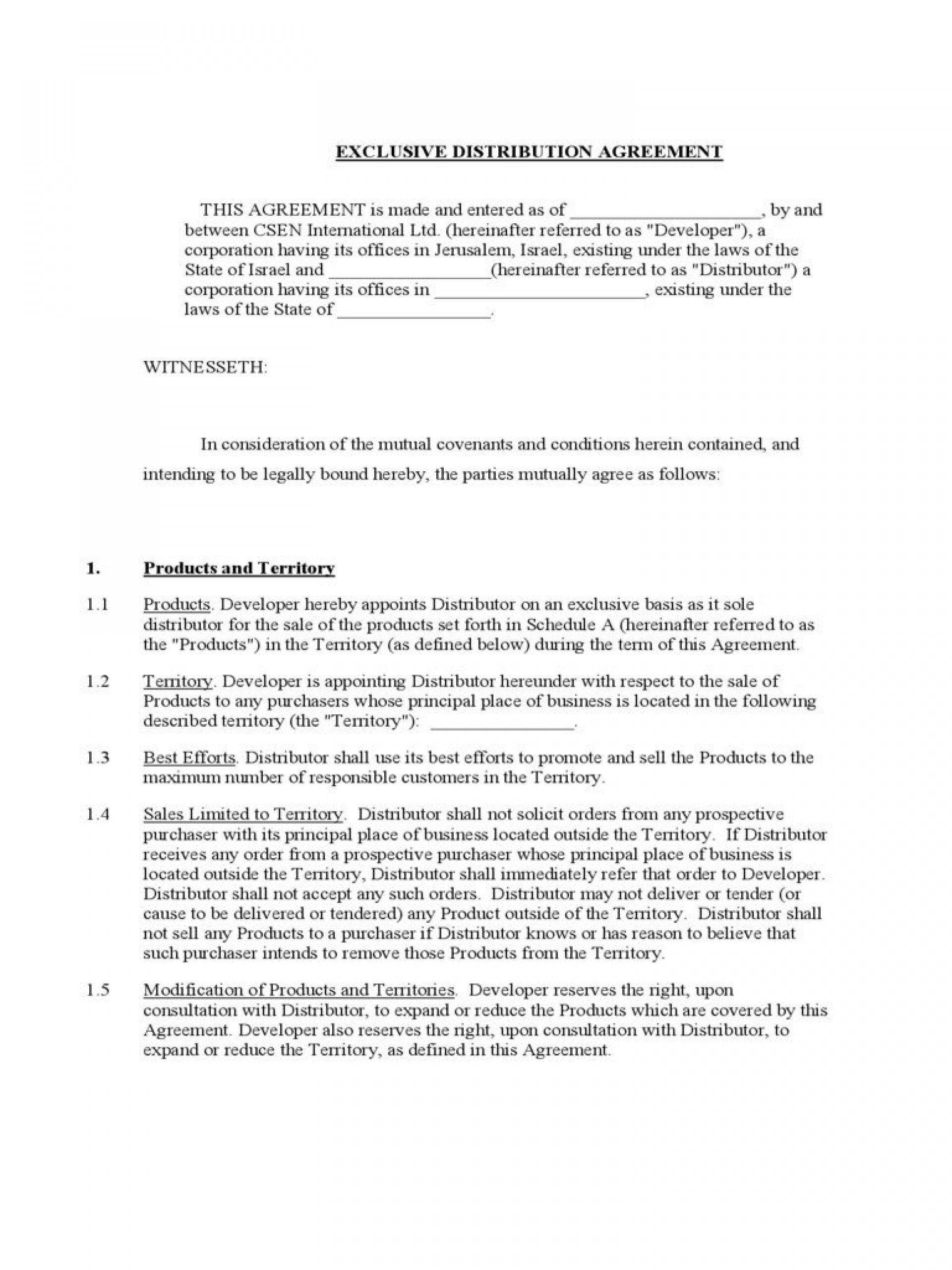 003 Astounding Free Exclusive Distribution Agreement Template Uk Concept 1920