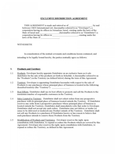 003 Astounding Free Exclusive Distribution Agreement Template Uk Concept 480