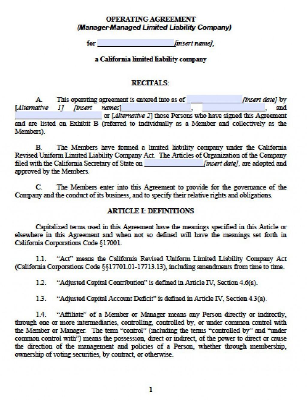 003 Astounding Free Operating Agreement Template Image  Pdf Missouri LlcLarge