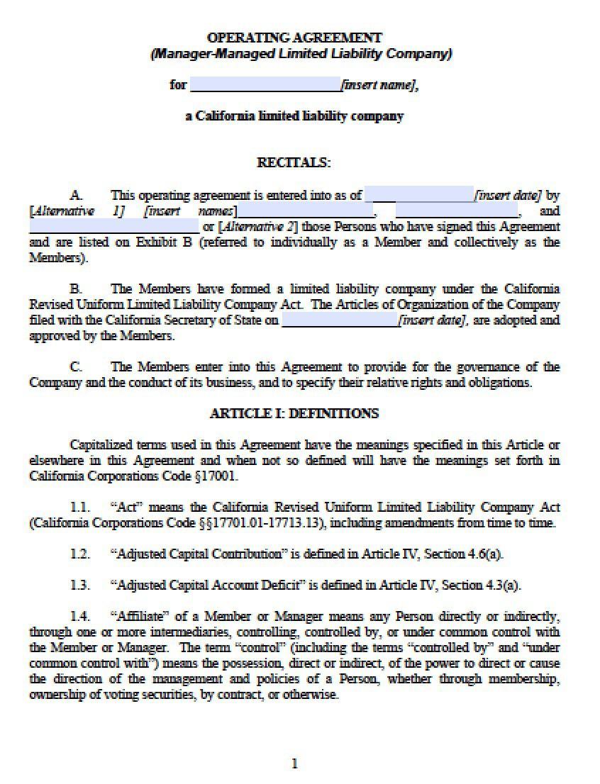 003 Astounding Free Operating Agreement Template Image  Pdf Missouri LlcFull