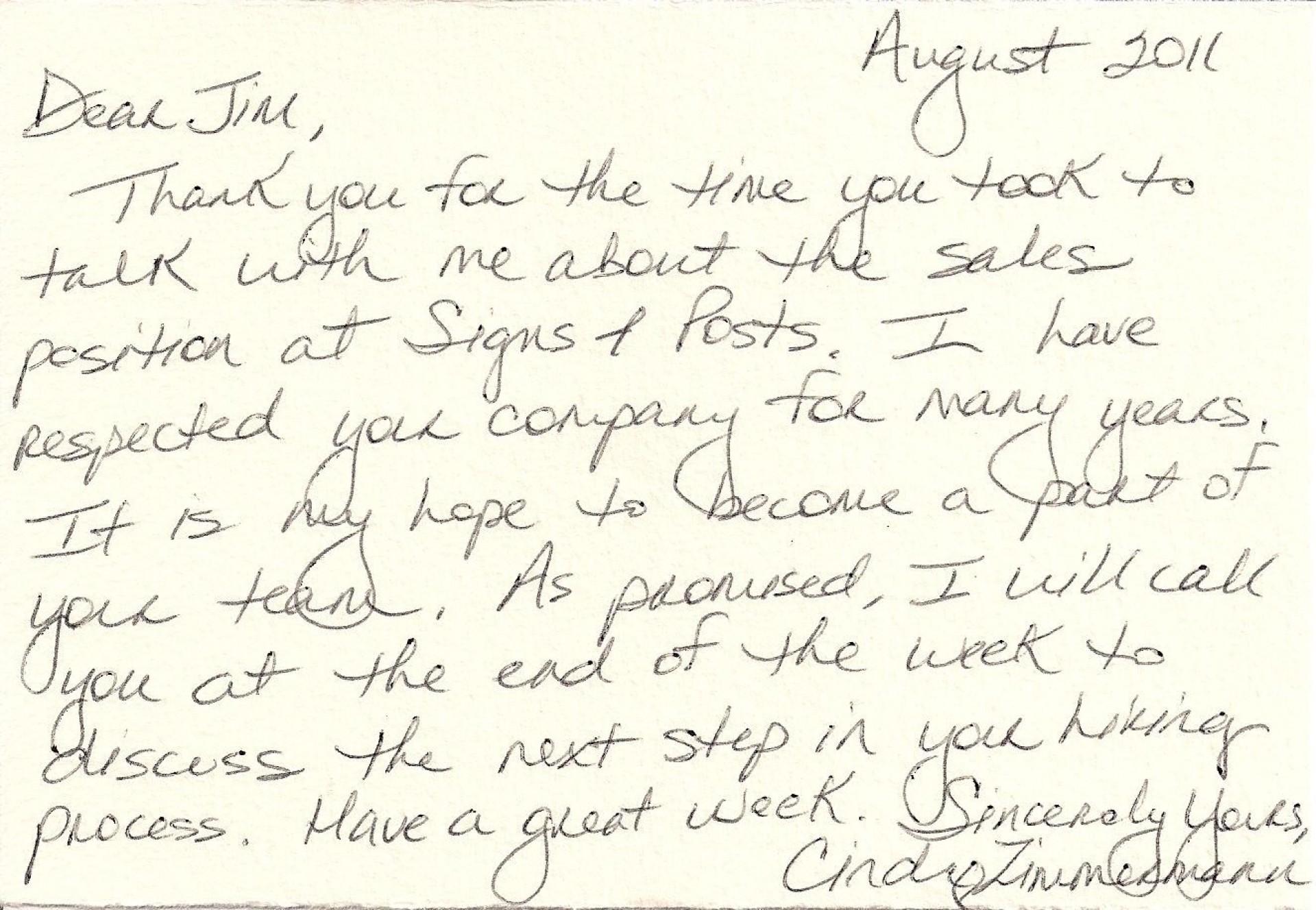 003 Astounding Handwritten Thank You Note After Interview Template Sample 1920