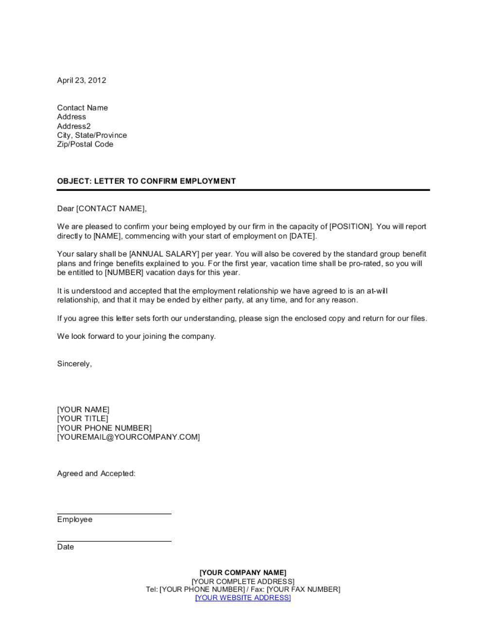 003 Astounding Proof Of Employment Letter Template Design  Confirmation Word FreeFull