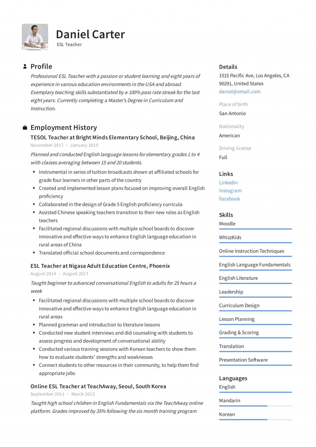 003 Astounding Resume Example For Teaching Picture  Sample Position In College Teacher School Principal IndiaLarge