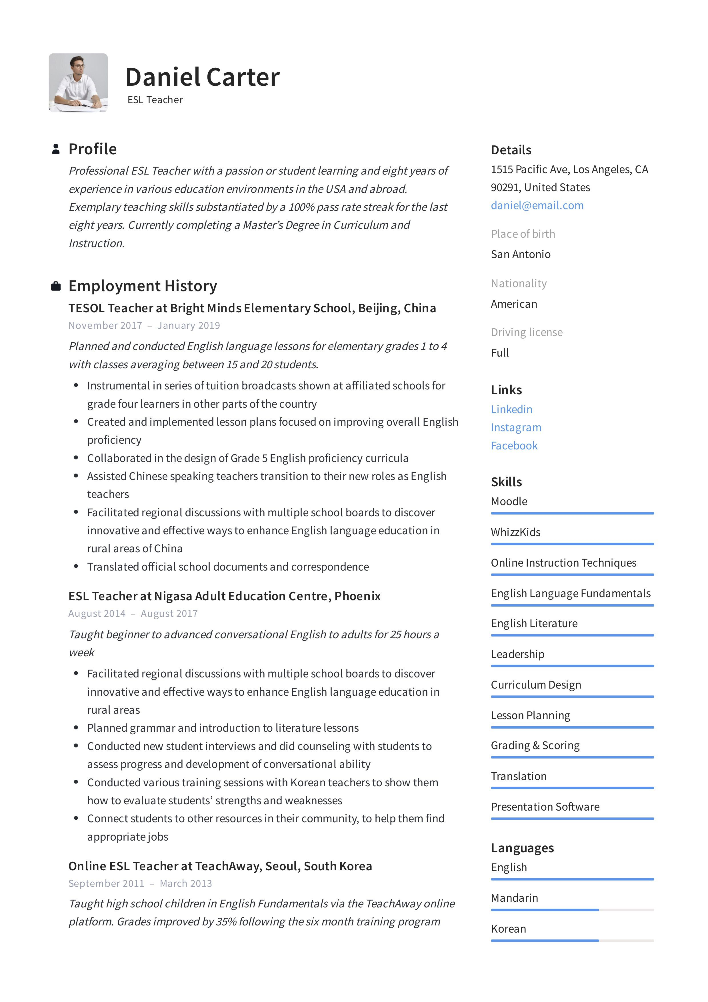 003 Astounding Resume Example For Teaching Picture  Sample Position In College Teacher School Principal IndiaFull