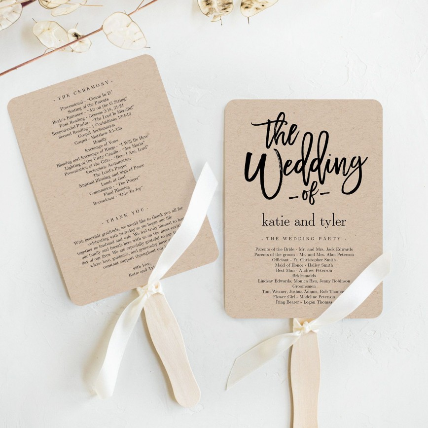 003 Astounding Wedding Program Fan Template High Def  Etsy Paddle Free Microsoft Word