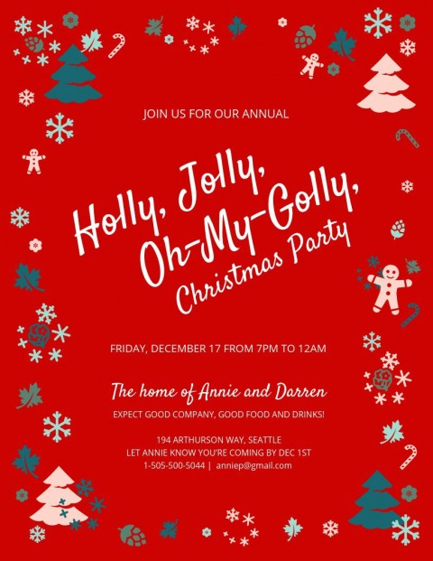 003 Awesome Christma Party Invitation Template Highest Clarity  Holiday Download Free Psd480