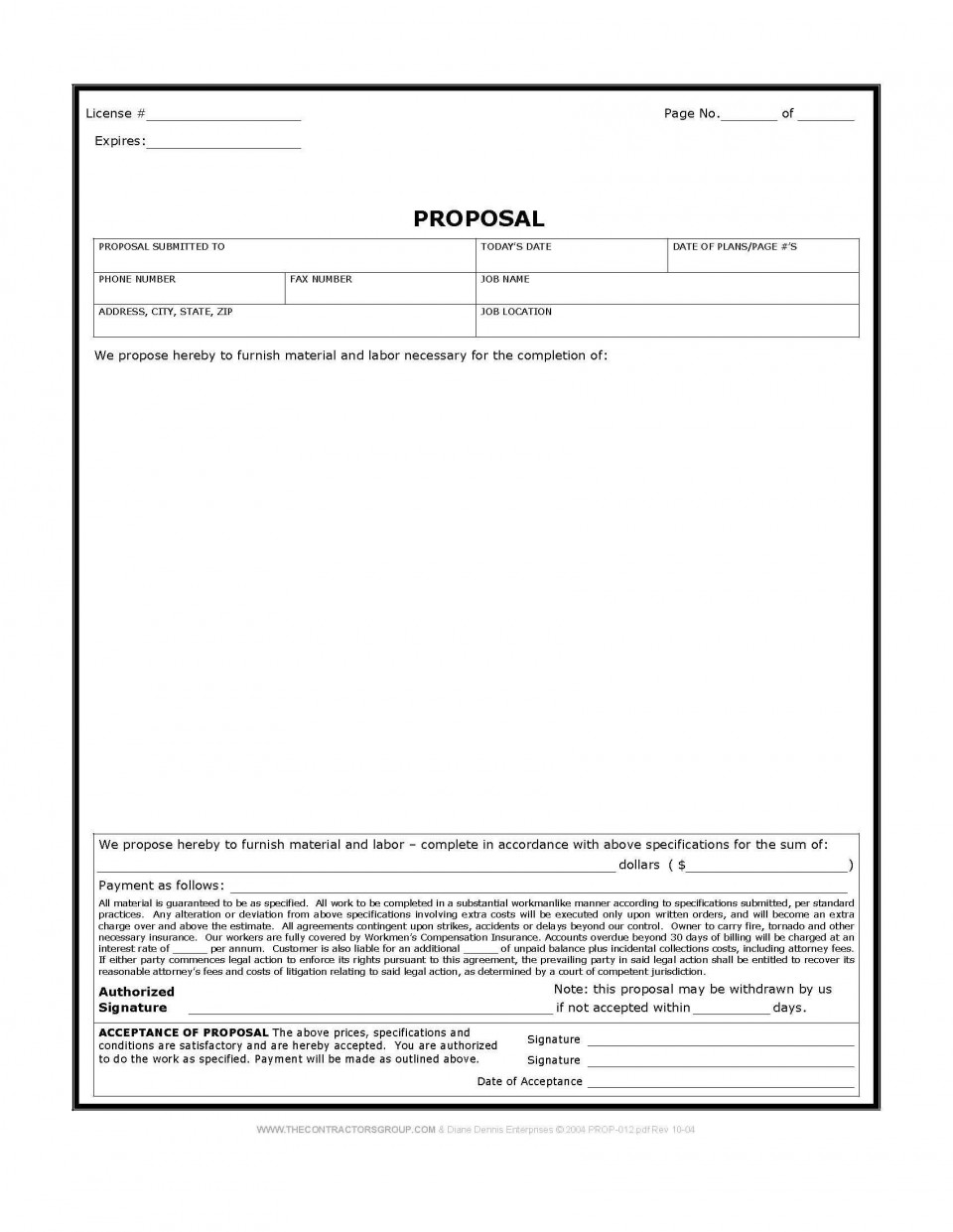 003 Awesome Construction Busines Form Template Highest Quality 960