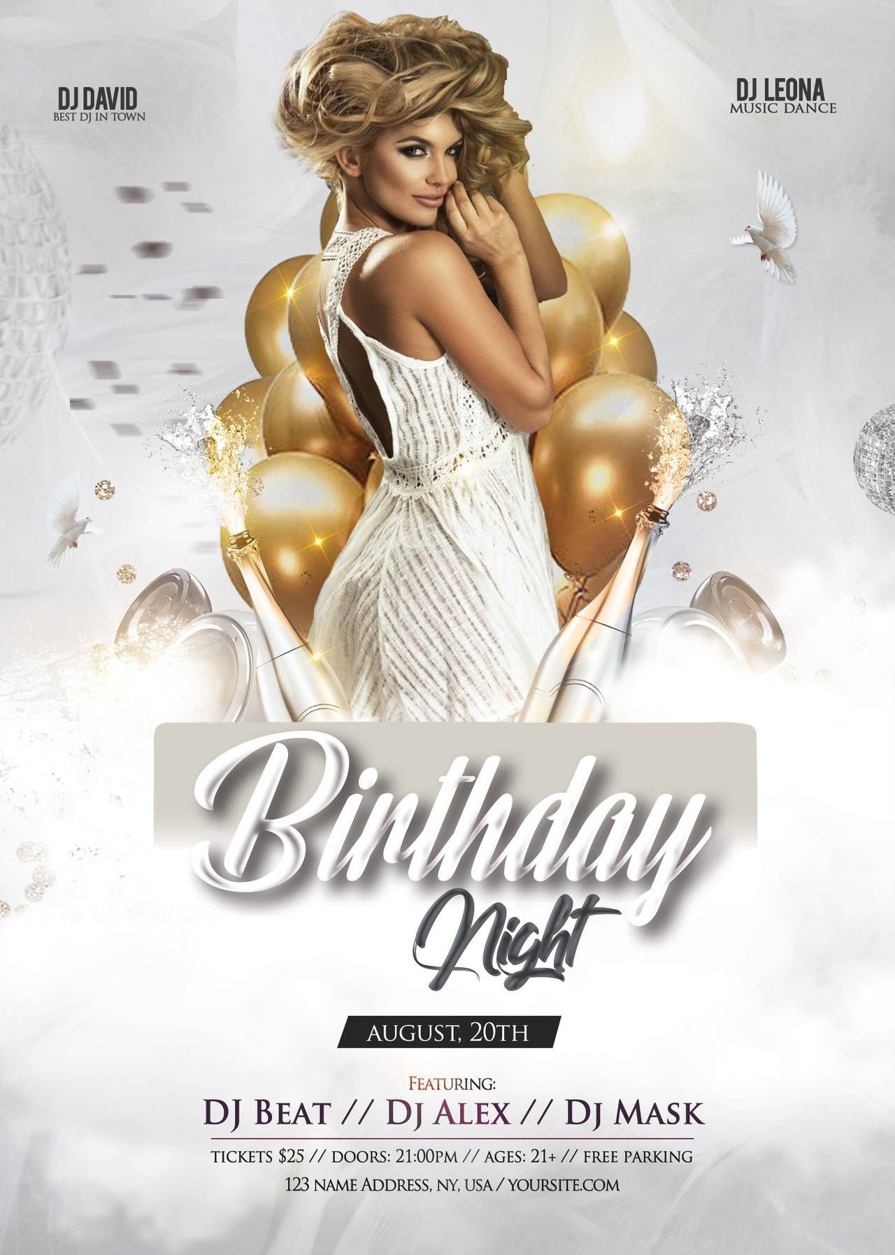 003 Awesome Free Birthday Flyer Template Psd Example  Foam Party - Neon Glow Download PoolFull