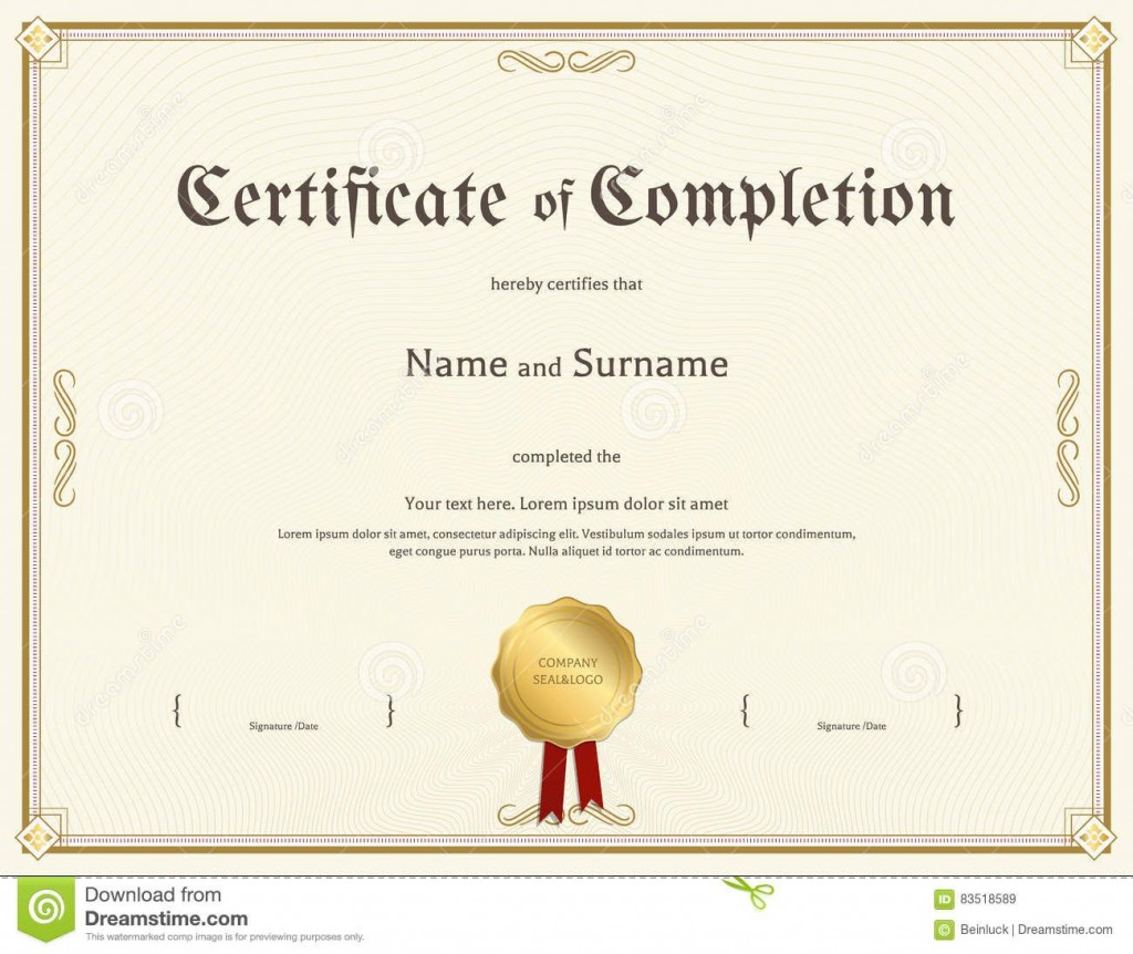 003 Awesome Free Certificate Of Completion Template Picture  Blank Printable Download Word PdfLarge
