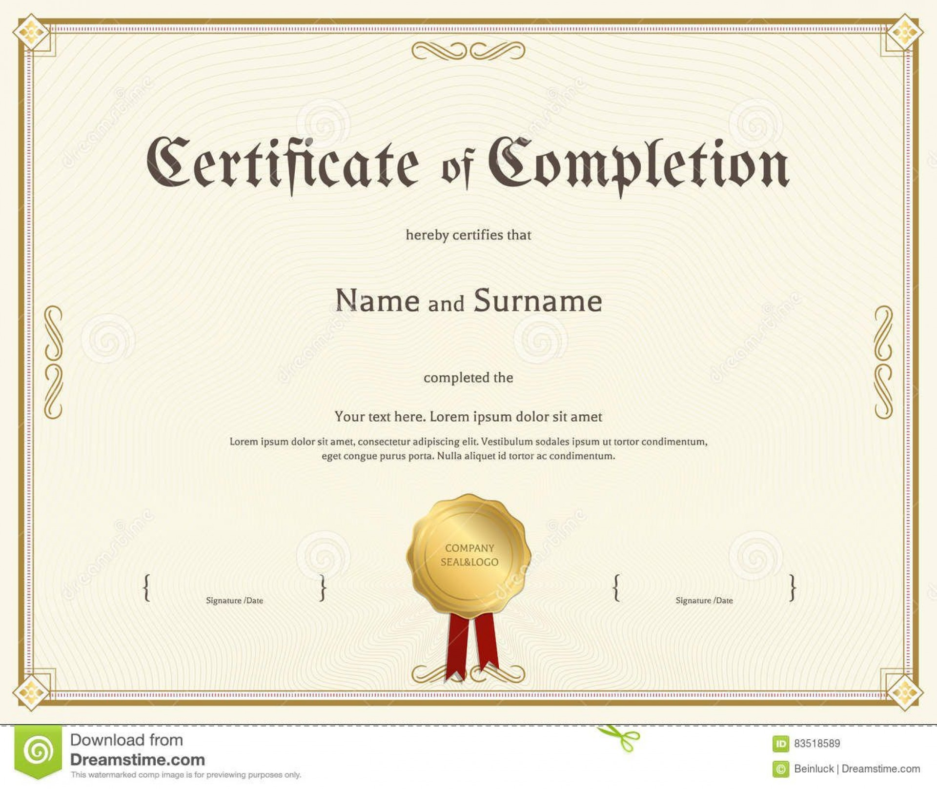 003 Awesome Free Certificate Of Completion Template Picture  Blank Printable Download Word Pdf1920