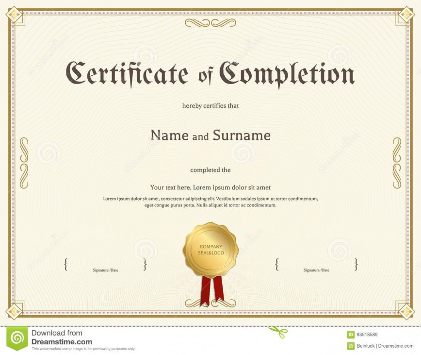 003 Awesome Free Certificate Of Completion Template Picture  Download Printable Word Ojt