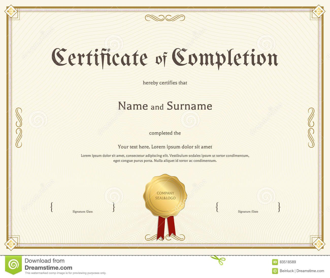 003 Awesome Free Certificate Of Completion Template Picture  Blank Printable Download Word PdfFull