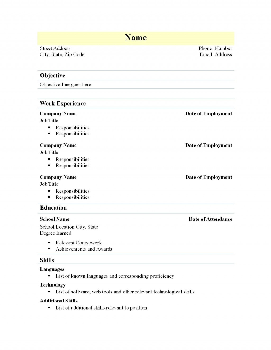 003 Awesome Free High School Resume Template Word Concept  StudentLarge
