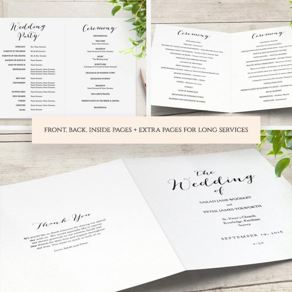 003 Awesome Free Wedding Order Of Service Template Microsoft Word Inspiration Large