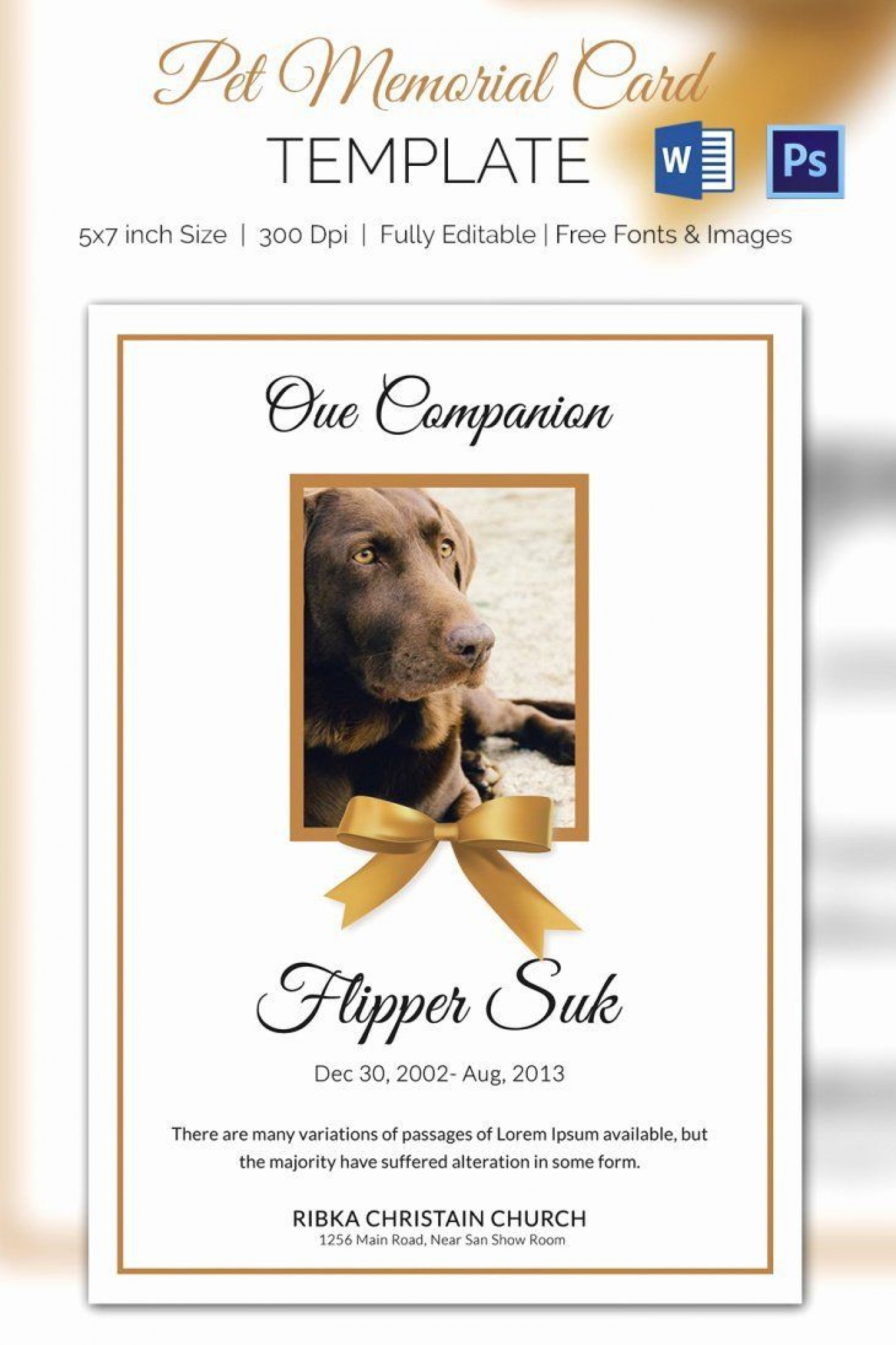 003 Awesome Memorial Card Template Free Download Design 1920