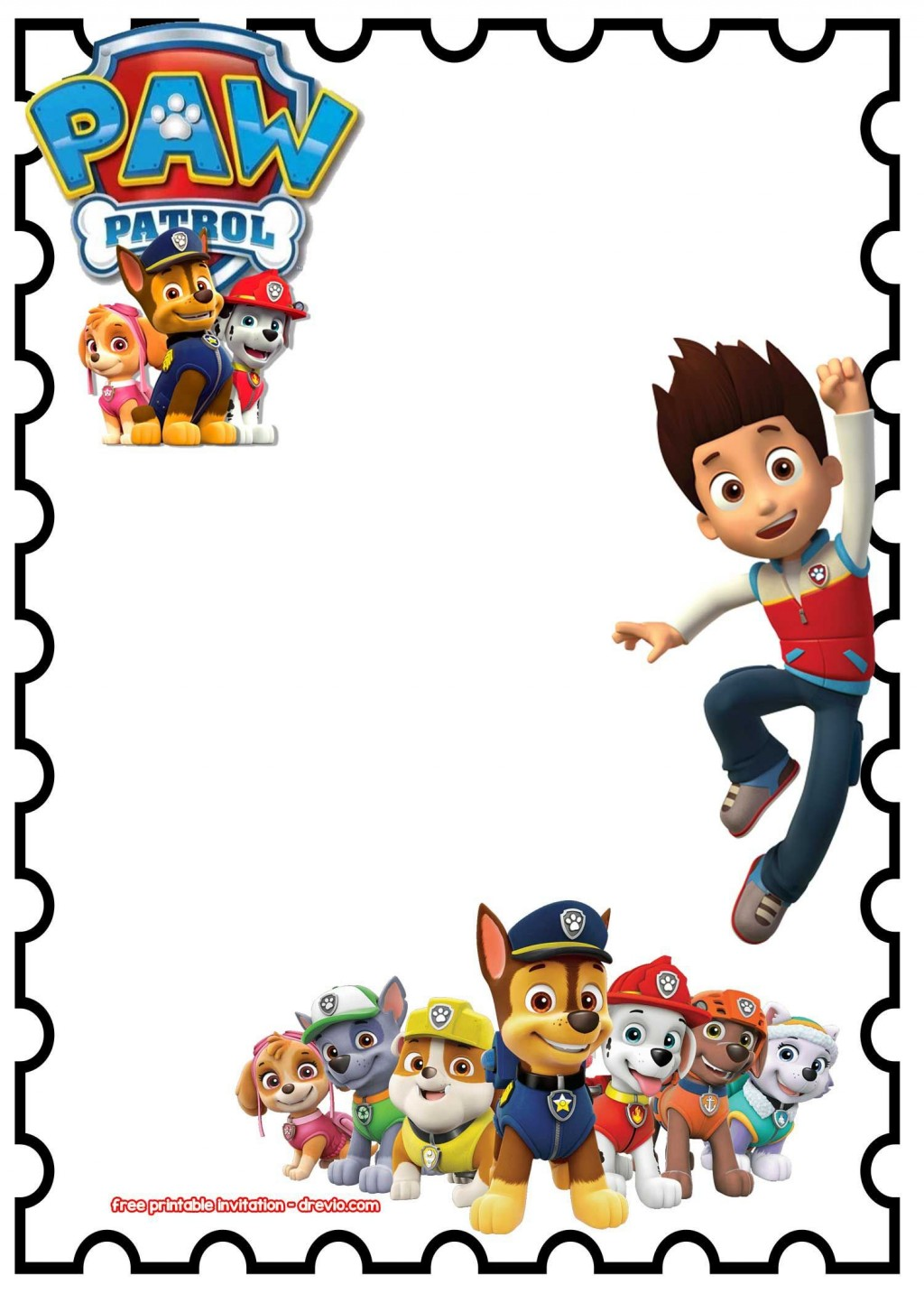 003 Awesome Paw Patrol Birthday Invitation Template Picture  Party Invite Wording Skye FreeLarge
