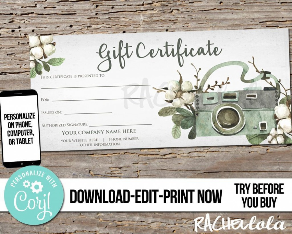 003 Awesome Photography Session Gift Certificate Template Concept  Photo FreeLarge