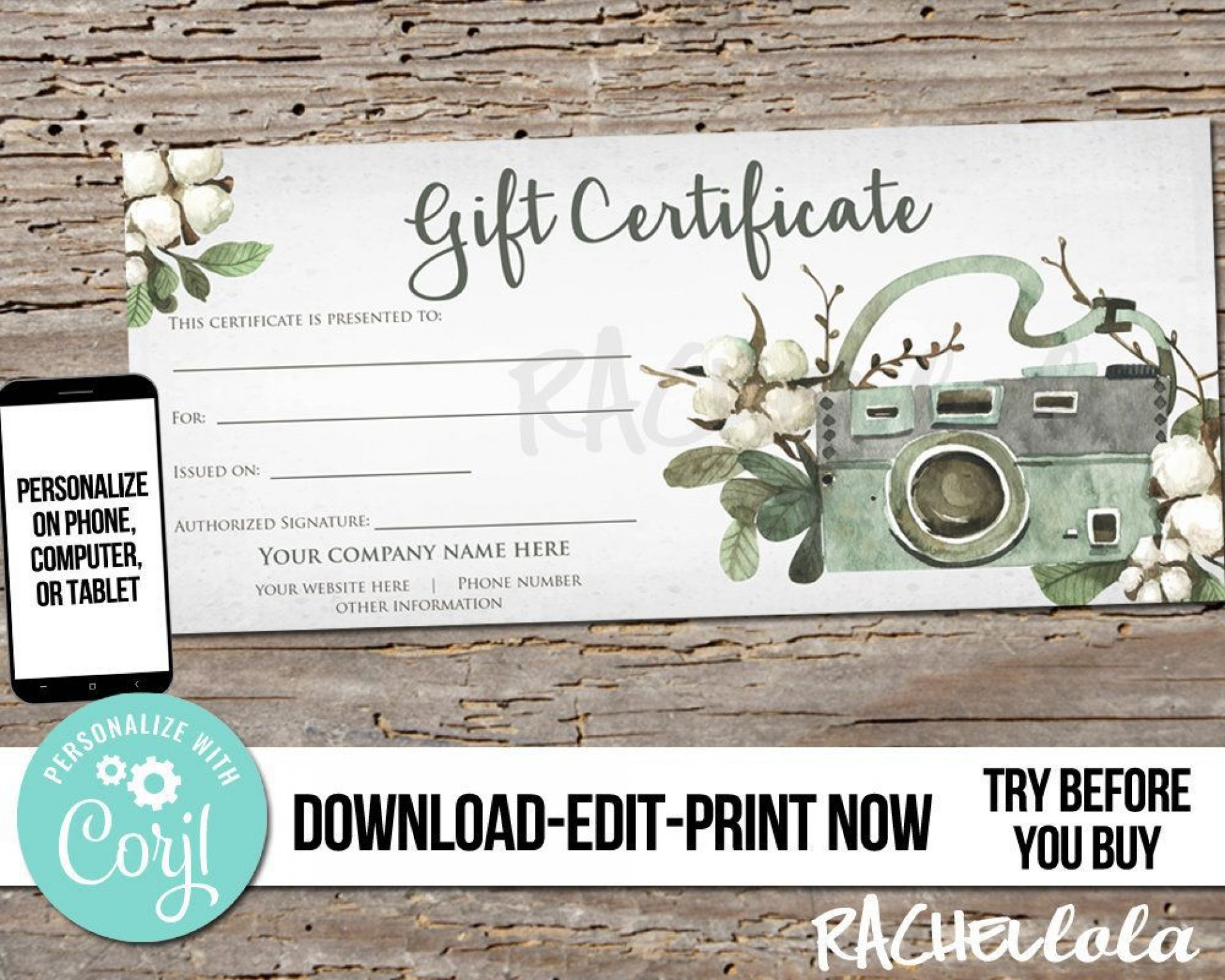 003 Awesome Photography Session Gift Certificate Template Concept  Photo Free1920