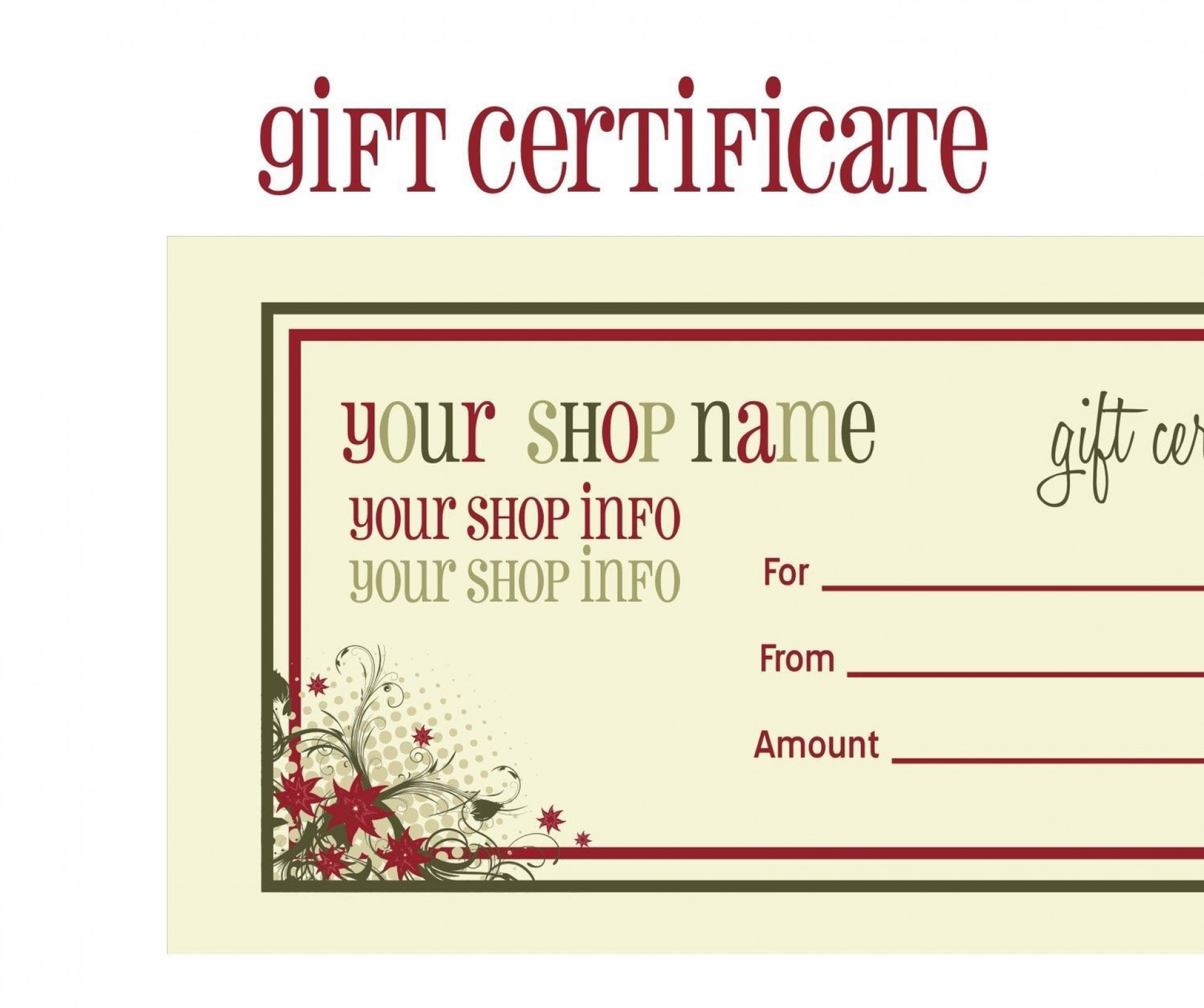 003 Awesome Printable Gift Certificate Template High Definition  Card Free Christma Massage1920