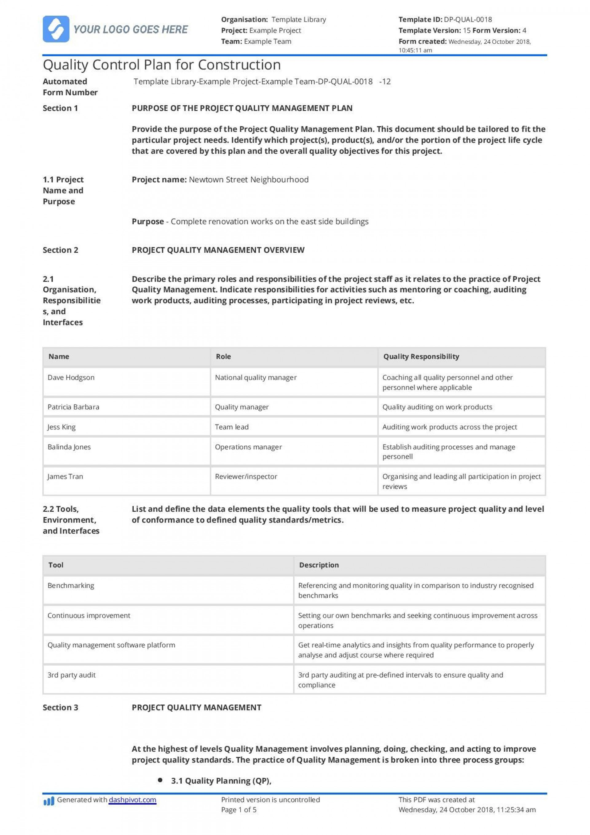 003 Awesome Project Quality Management Plan Template Pdf Idea  Sample1920