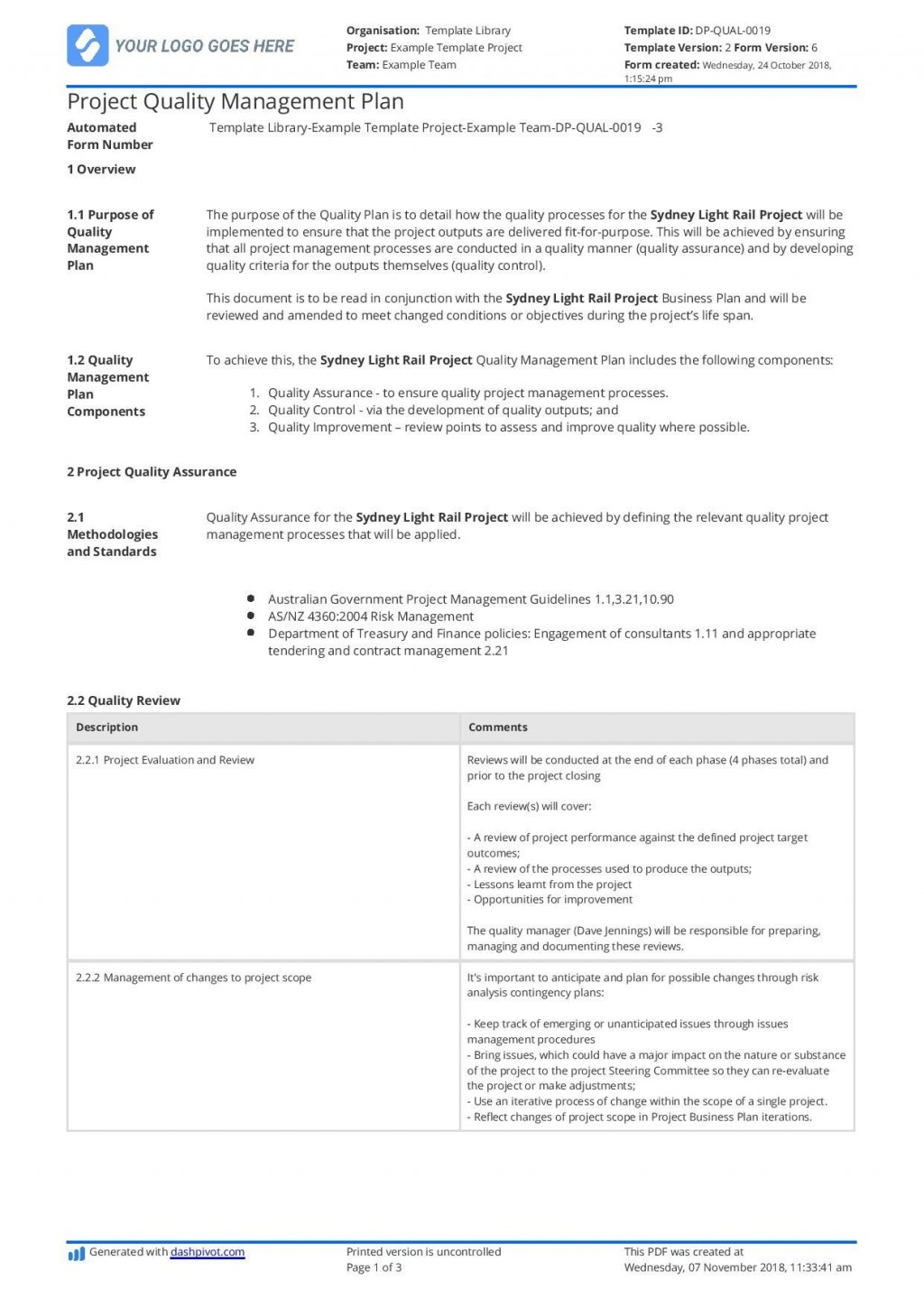 003 Awesome Quality Management Plan Template Highest Clarity  Templates Sample Pdf ConstructionLarge