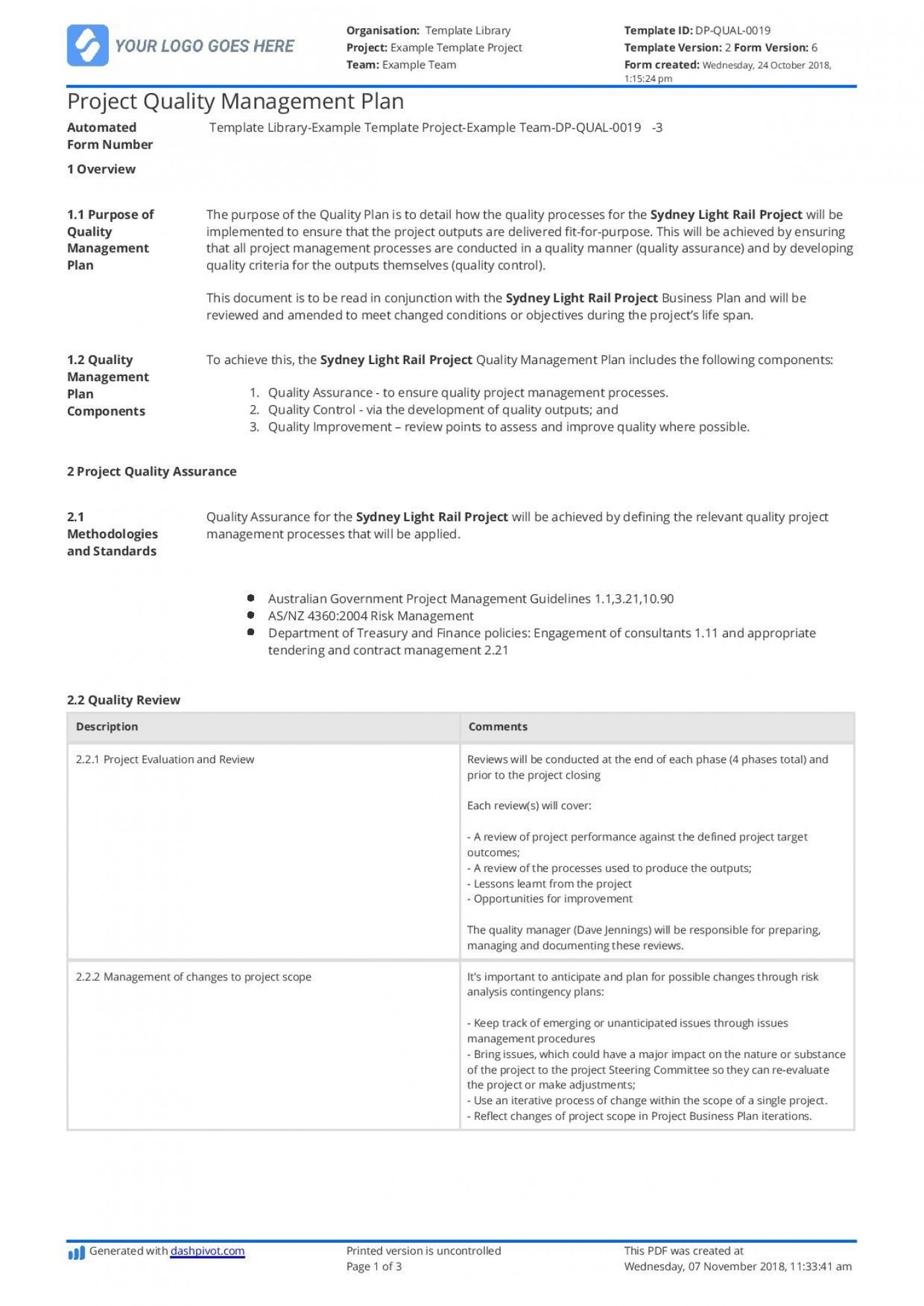 003 Awesome Quality Management Plan Template Highest Clarity  Sample Pdf Example In Construction Doc1400