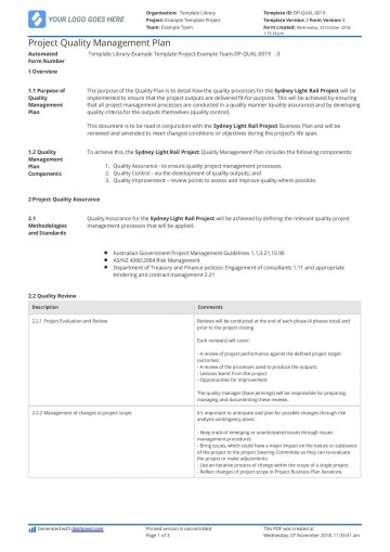 003 Awesome Quality Management Plan Template Highest Clarity  Sample Pdf Example In Construction Doc360
