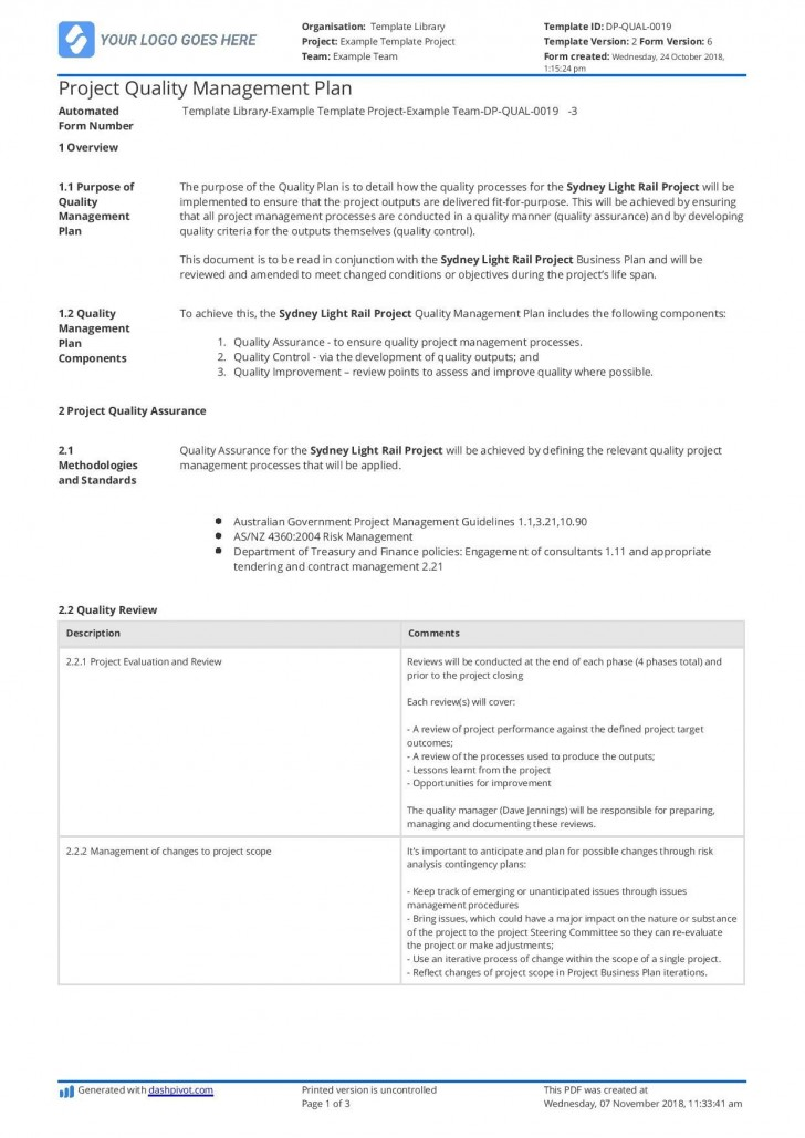 003 Awesome Quality Management Plan Template Highest Clarity  Sample Pdf Example In Construction Doc728