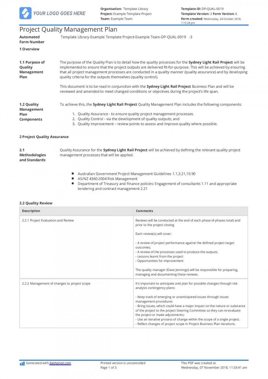 003 Awesome Quality Management Plan Template Highest Clarity  Templates Construction Project Sample Pdf Australia